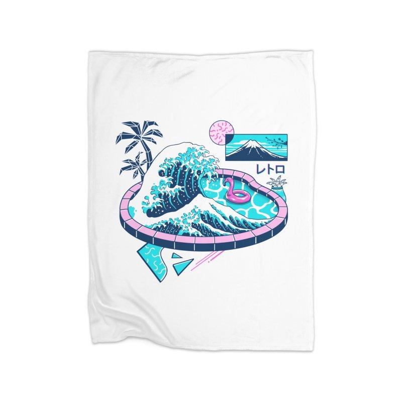 Vapor Wave Pool Home Fleece Blanket Blanket by Vincent Trinidad Art