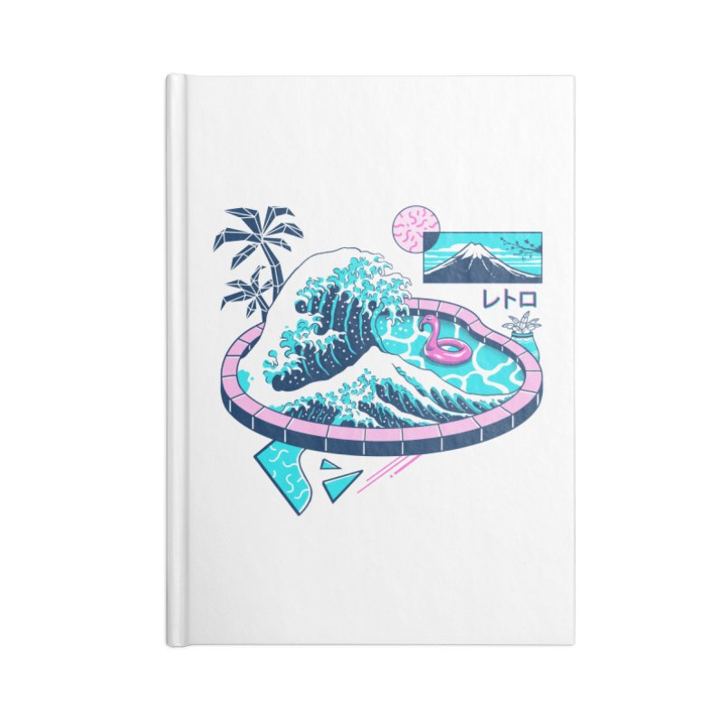 Vapor Wave Pool Accessories Lined Journal Notebook by Vincent Trinidad Art