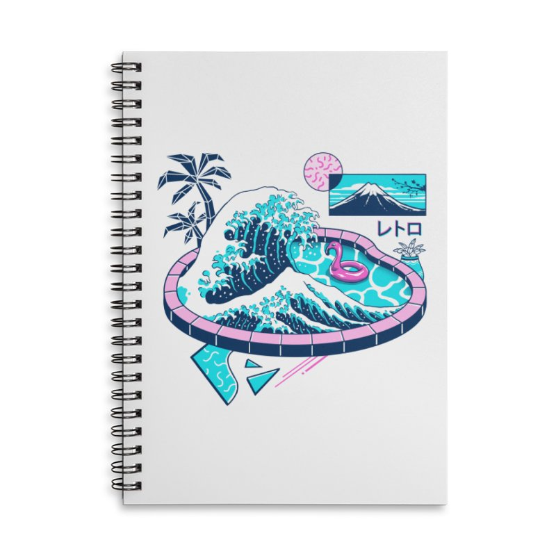 Vapor Wave Pool Accessories Lined Spiral Notebook by Vincent Trinidad Art