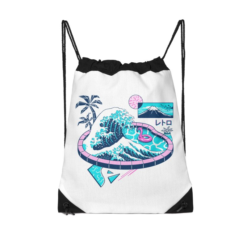 Vapor Wave Pool Accessories Drawstring Bag Bag by Vincent Trinidad Art