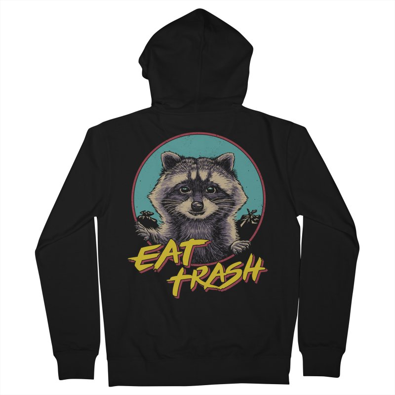 Eat Trash Men's French Terry Zip-Up Hoody by Vincent Trinidad Art