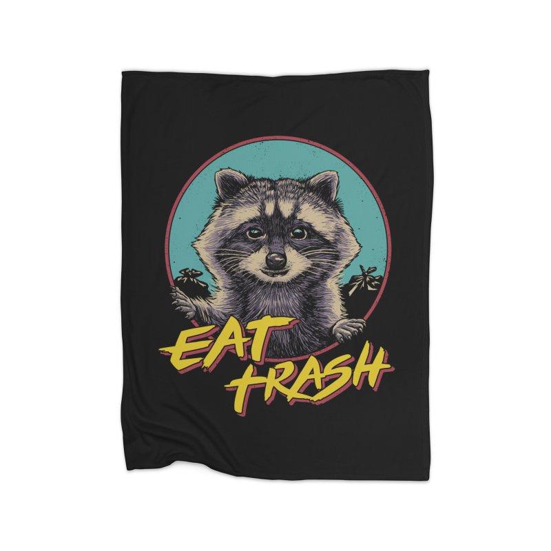 Eat Trash Home Fleece Blanket Blanket by Vincent Trinidad Art