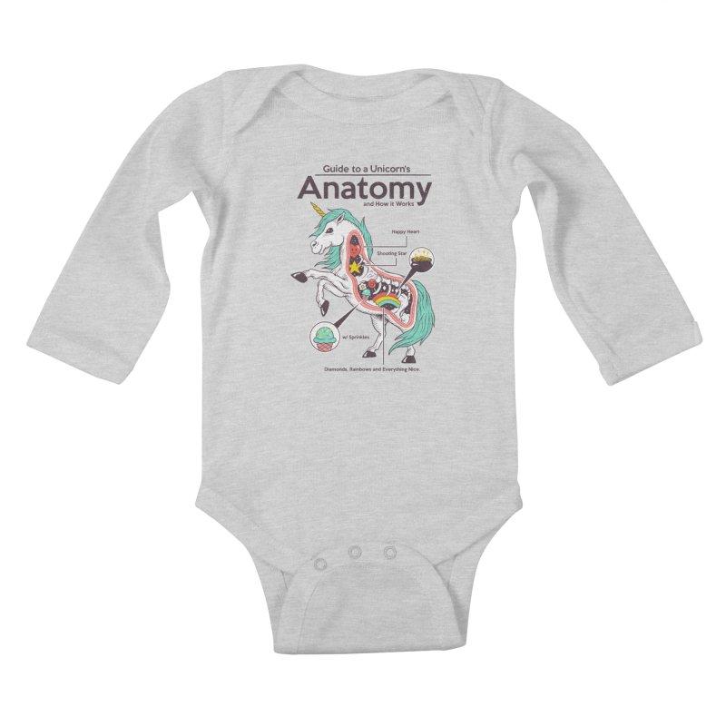 Anatomy of a Unicorn Kids Baby Longsleeve Bodysuit by Vincent Trinidad Art
