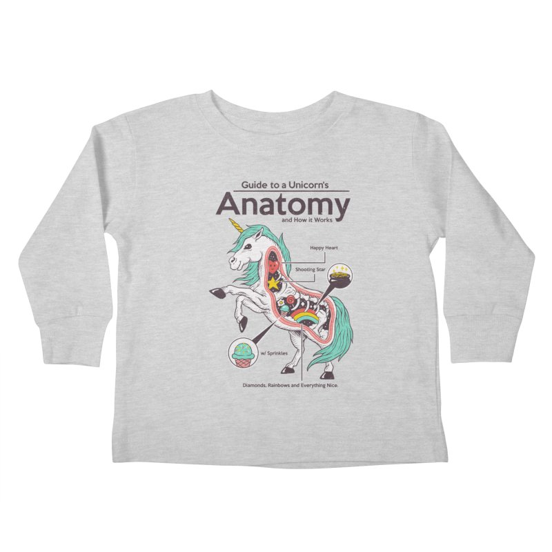 Anatomy of a Unicorn Kids Toddler Longsleeve T-Shirt by Vincent Trinidad Art