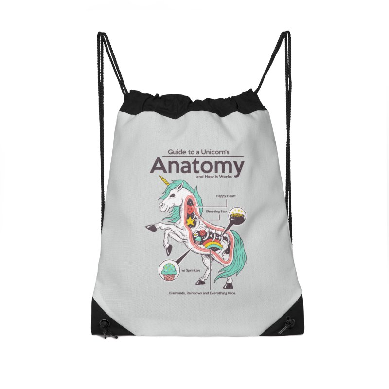 Anatomy of a Unicorn Accessories Drawstring Bag Bag by Vincent Trinidad Art