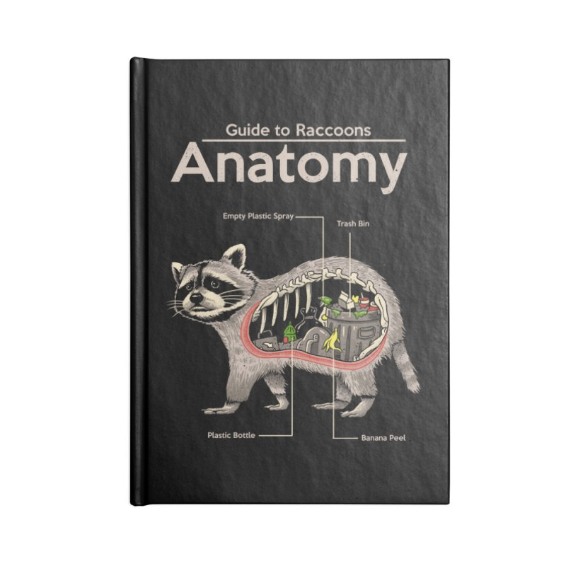Anatomy of a Raccoon Accessories Lined Journal Notebook by Vincent Trinidad Art