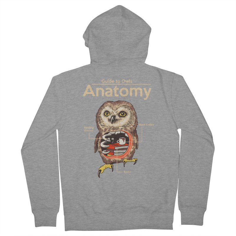 Anatomy of Owls Men's French Terry Zip-Up Hoody by Vincent Trinidad Art