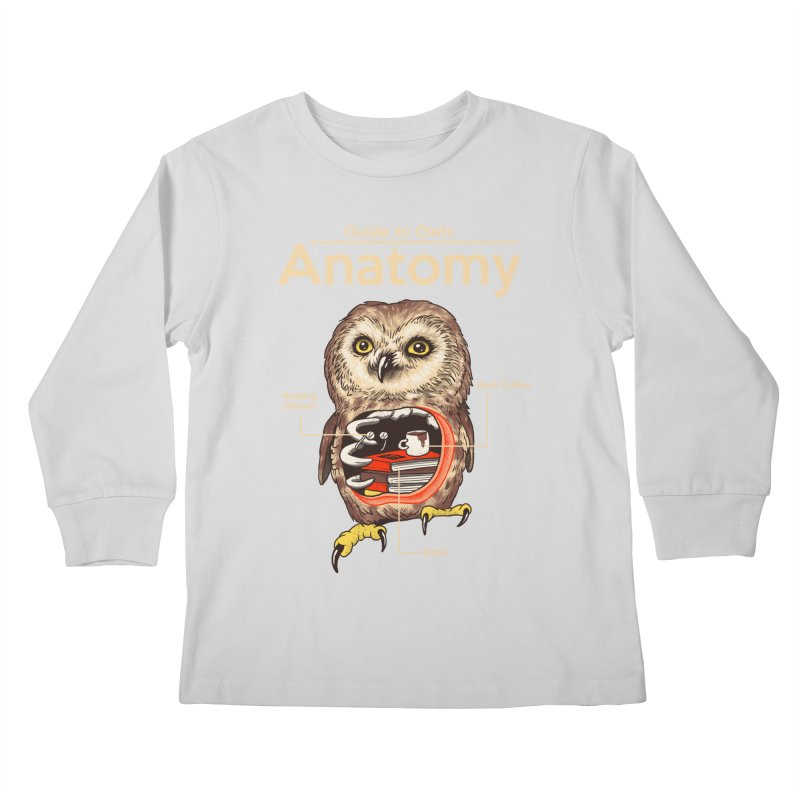 Anatomy of Owls Kids Longsleeve T-Shirt by Vincent Trinidad Art