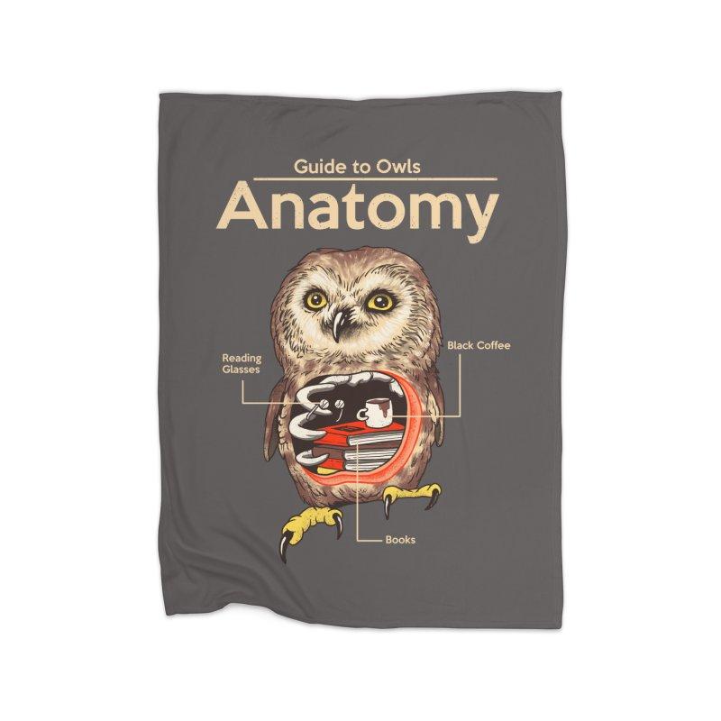 Anatomy of Owls Home Fleece Blanket Blanket by Vincent Trinidad Art