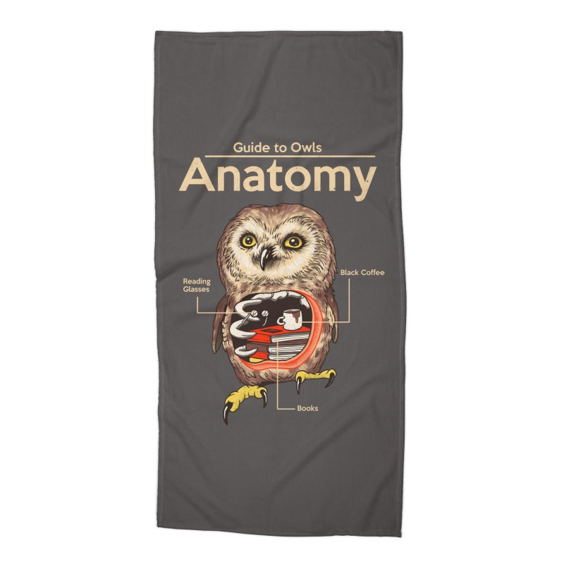 Anatomy of Owls Accessories Beach Towel by Vincent Trinidad Art