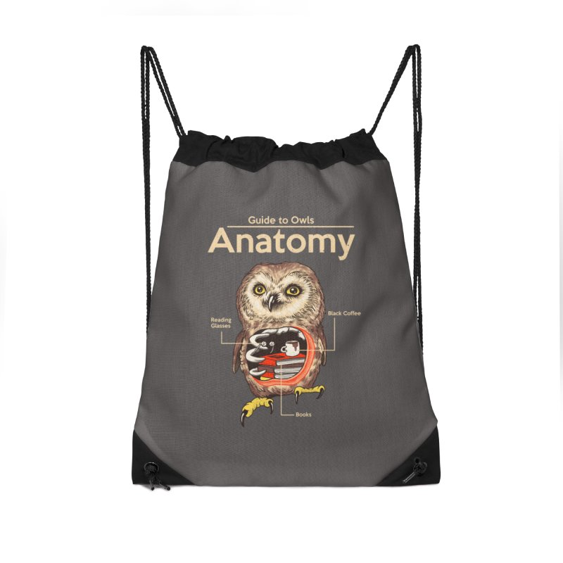Anatomy of Owls Accessories Drawstring Bag Bag by Vincent Trinidad Art