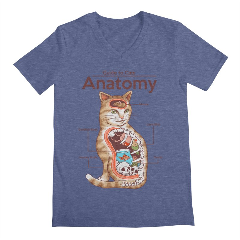 Anatomy of Cats Men's Regular V-Neck by Vincent Trinidad Art