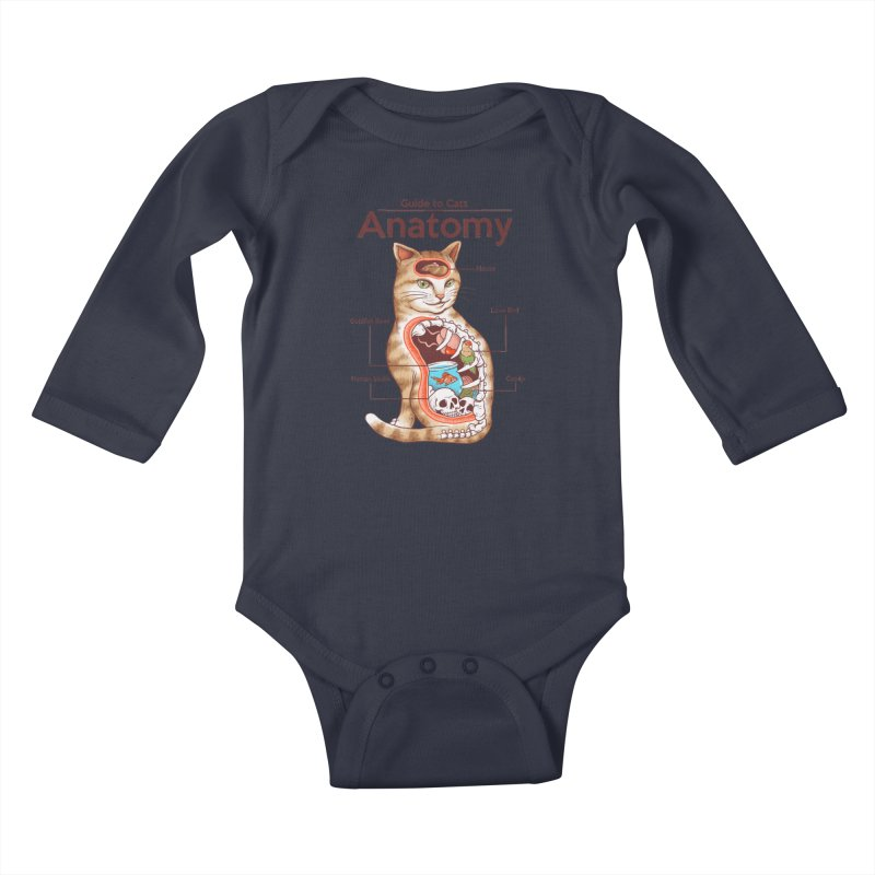 Anatomy of Cats Kids Baby Longsleeve Bodysuit by Vincent Trinidad Art