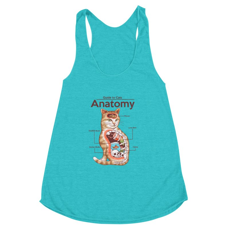 Anatomy of Cats Women's Racerback Triblend Tank by Vincent Trinidad Art