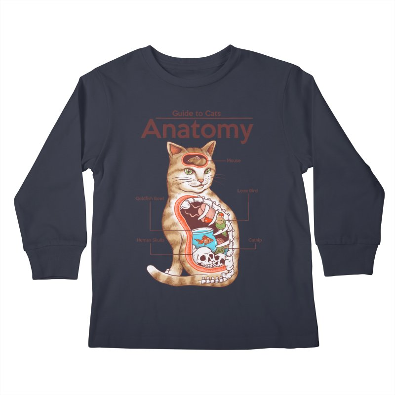 Anatomy of Cats Kids Longsleeve T-Shirt by Vincent Trinidad Art