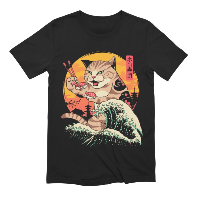 Neko Sushi Wave Men's Extra Soft T-Shirt by Vincent Trinidad Art