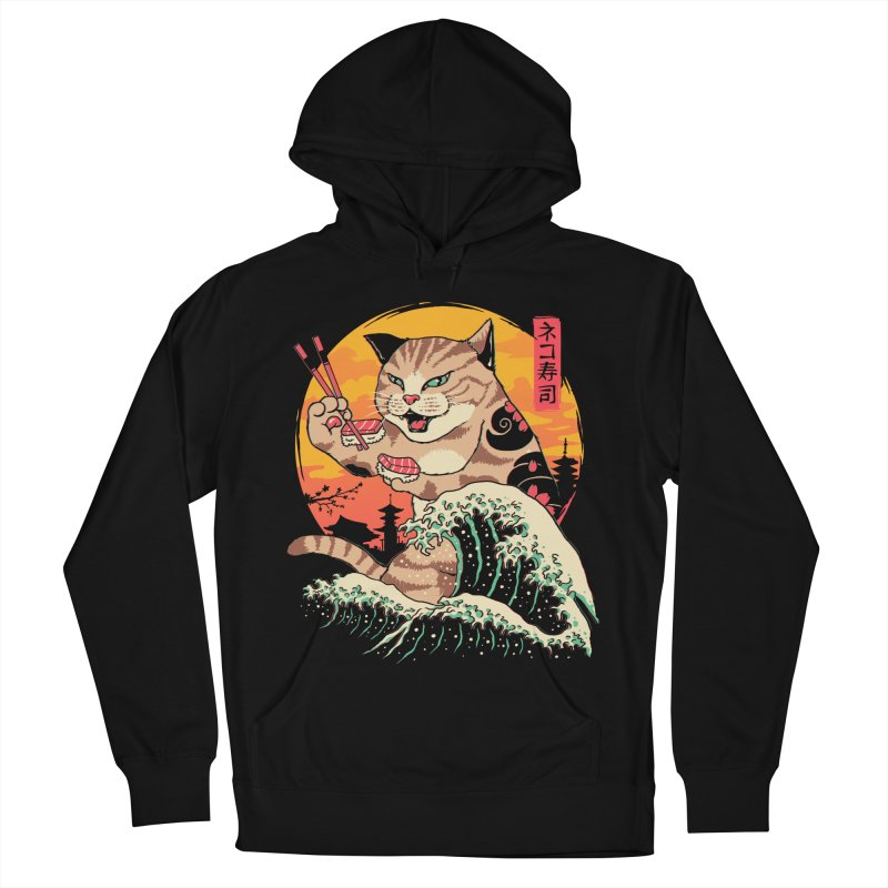 Neko Sushi Wave Men's French Terry Pullover Hoody by Vincent Trinidad Art