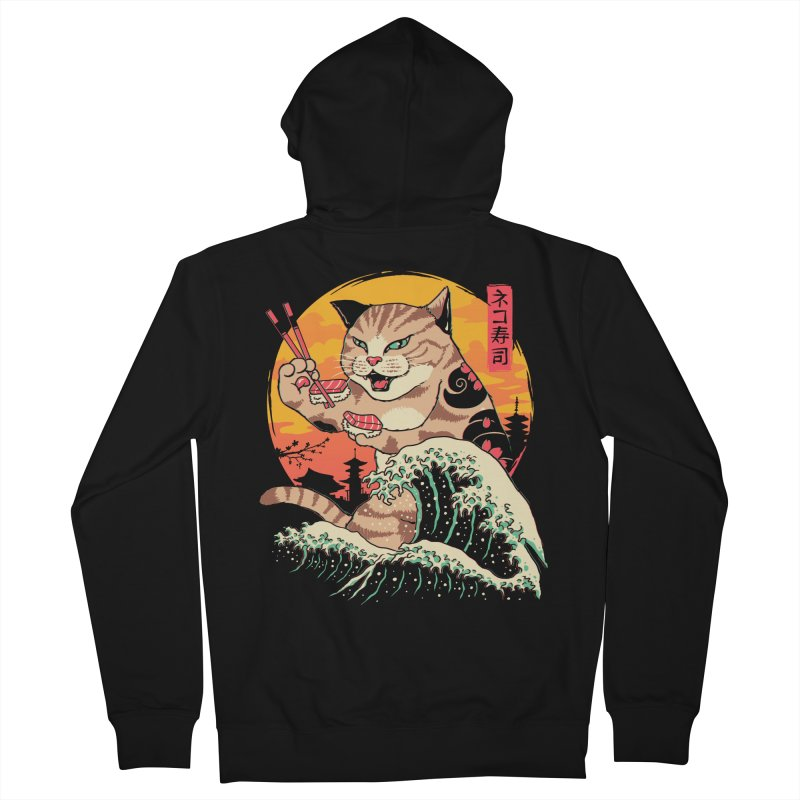 Neko Sushi Wave Men's French Terry Zip-Up Hoody by Vincent Trinidad Art
