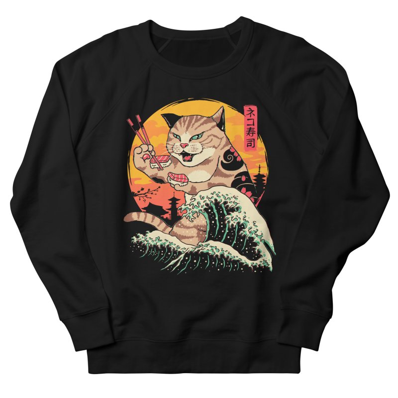 Neko Sushi Wave Women's French Terry Sweatshirt by Vincent Trinidad Art