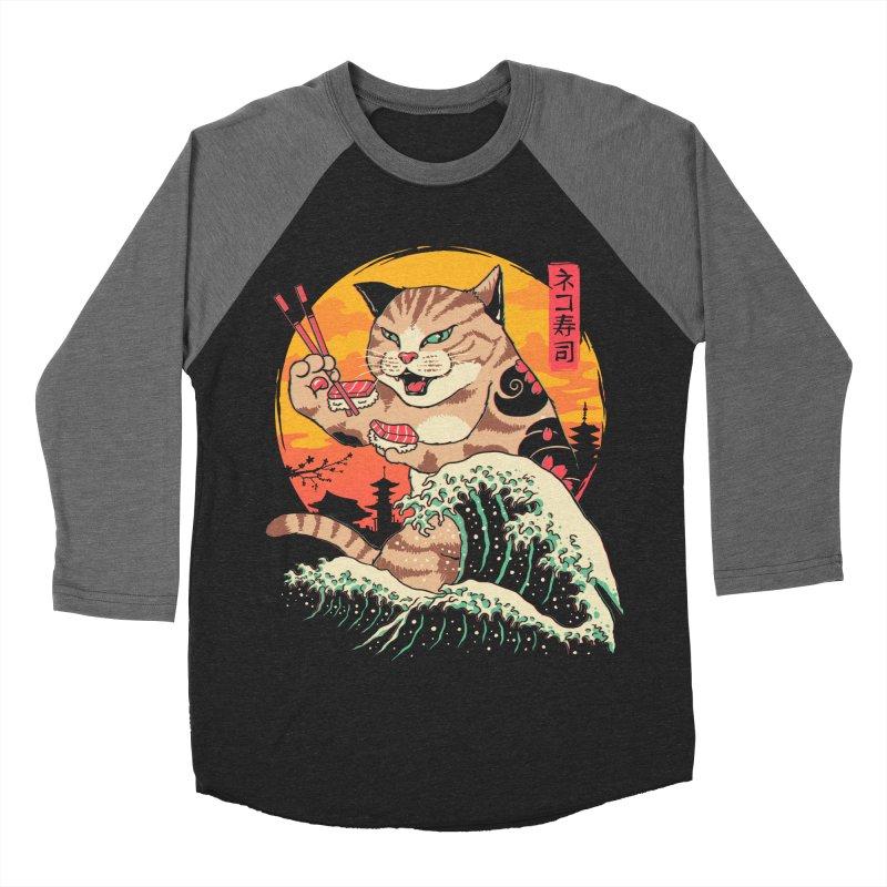 Neko Sushi Wave Women's Baseball Triblend Longsleeve T-Shirt by Vincent Trinidad Art