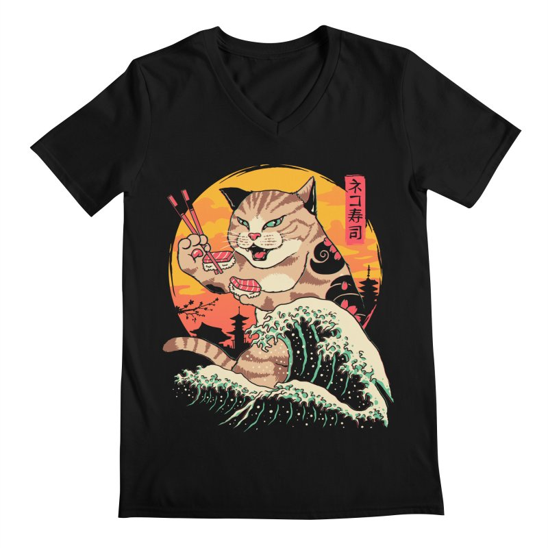 Neko Sushi Wave Men's Regular V-Neck by Vincent Trinidad Art