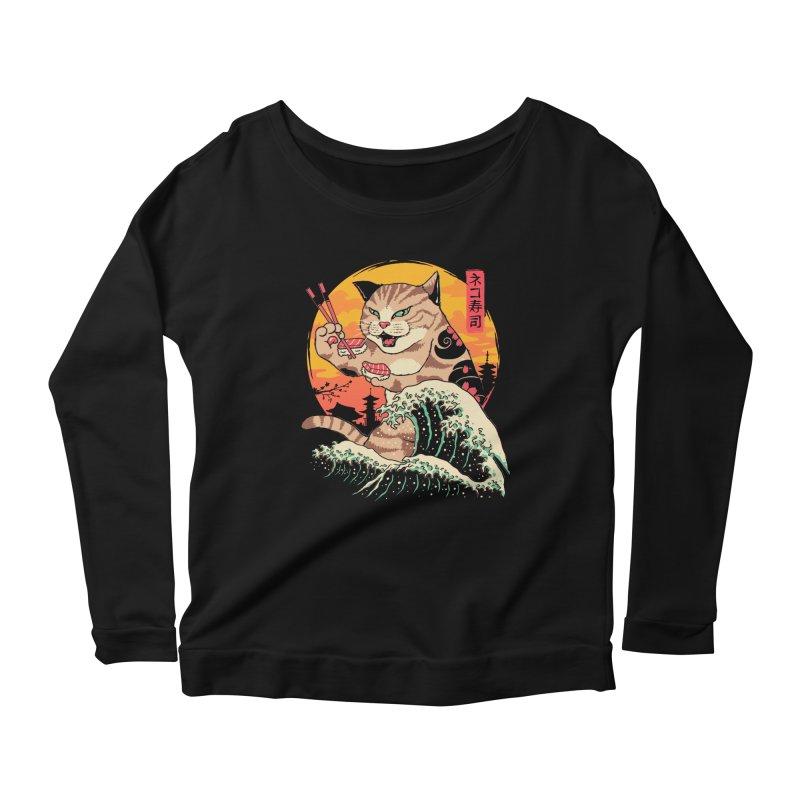 Neko Sushi Wave Women's Scoop Neck Longsleeve T-Shirt by Vincent Trinidad Art