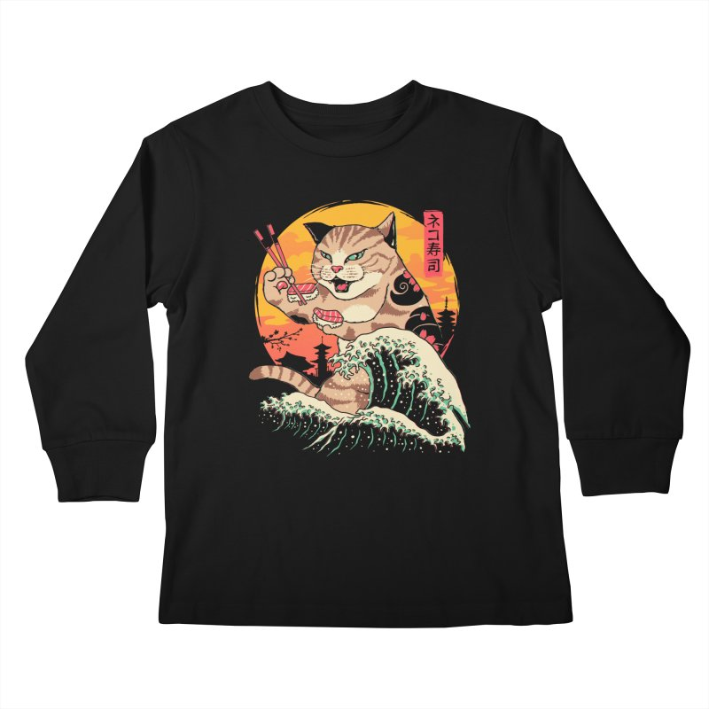 Neko Sushi Wave Kids Longsleeve T-Shirt by Vincent Trinidad Art