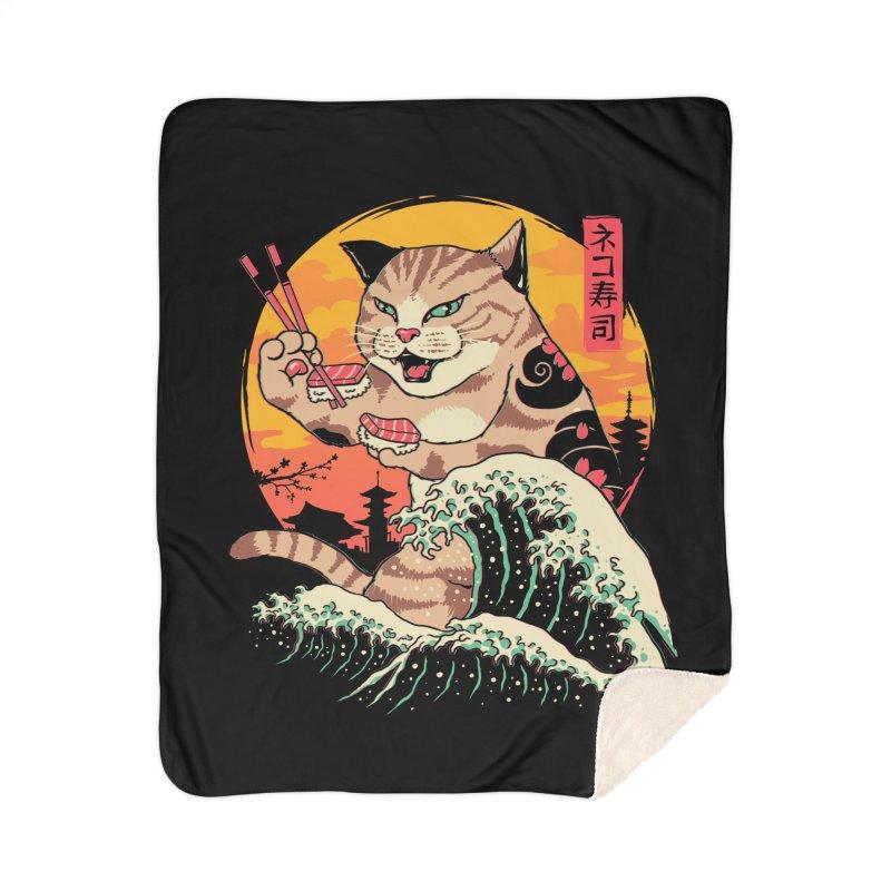 Neko Sushi Wave Home Sherpa Blanket Blanket by Vincent Trinidad Art