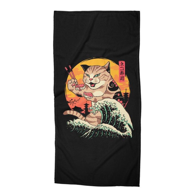 Neko Sushi Wave Accessories Beach Towel by Vincent Trinidad Art