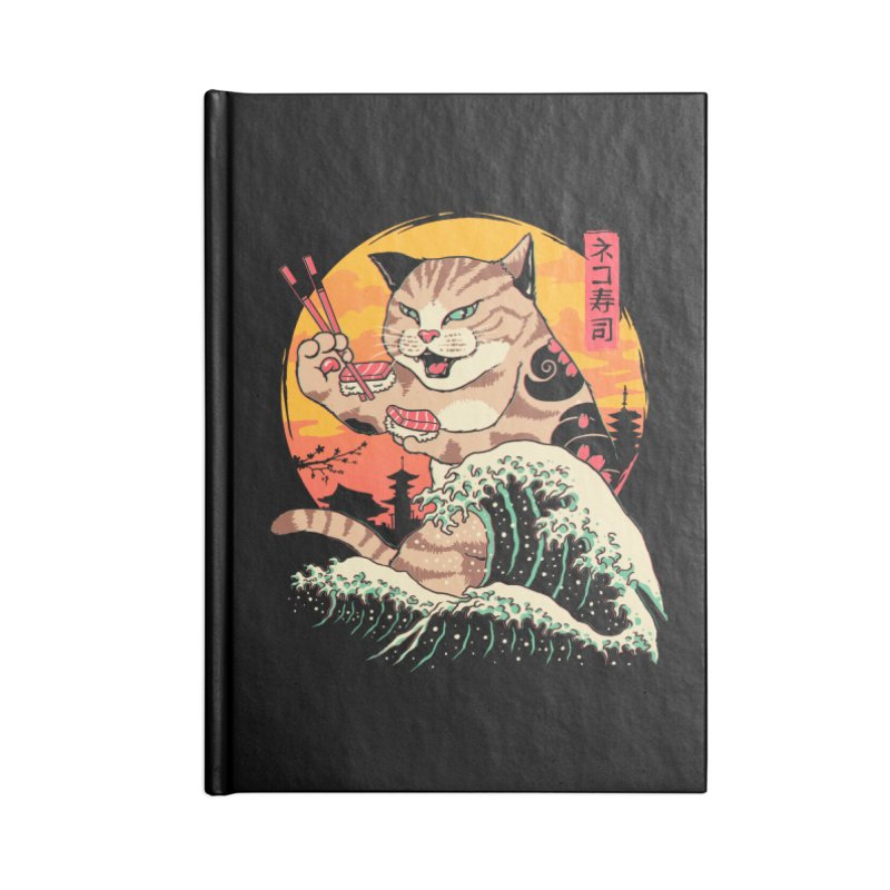 Neko Sushi Wave Accessories Blank Journal Notebook by Vincent Trinidad Art