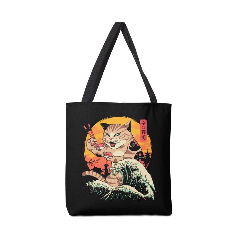Neko Sushi Wave Accessories Tote Bag Bag by Vincent Trinidad Art