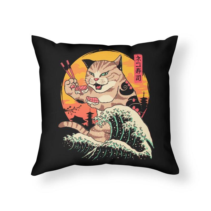 Neko Sushi Wave Home Throw Pillow by Vincent Trinidad Art