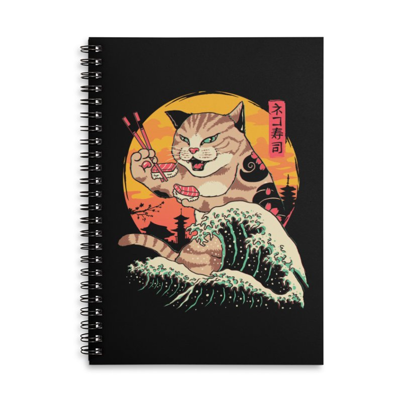 Neko Sushi Wave Accessories Lined Spiral Notebook by Vincent Trinidad Art
