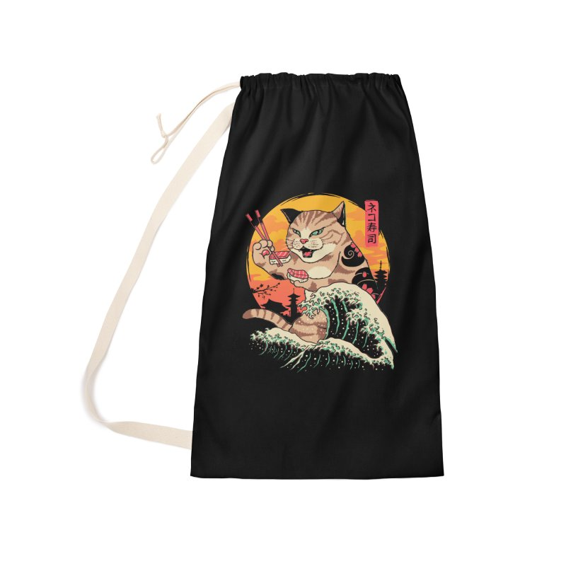 Neko Sushi Wave Accessories Laundry Bag Bag by Vincent Trinidad Art