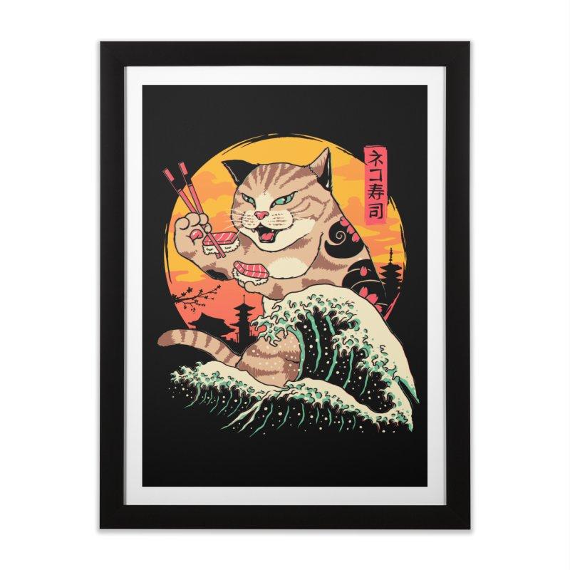 Neko Sushi Wave Home Framed Fine Art Print by Vincent Trinidad Art