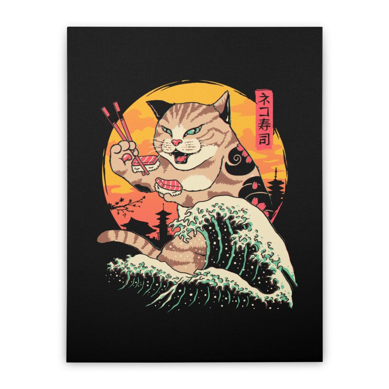 Neko Sushi Wave Home Stretched Canvas by Vincent Trinidad Art