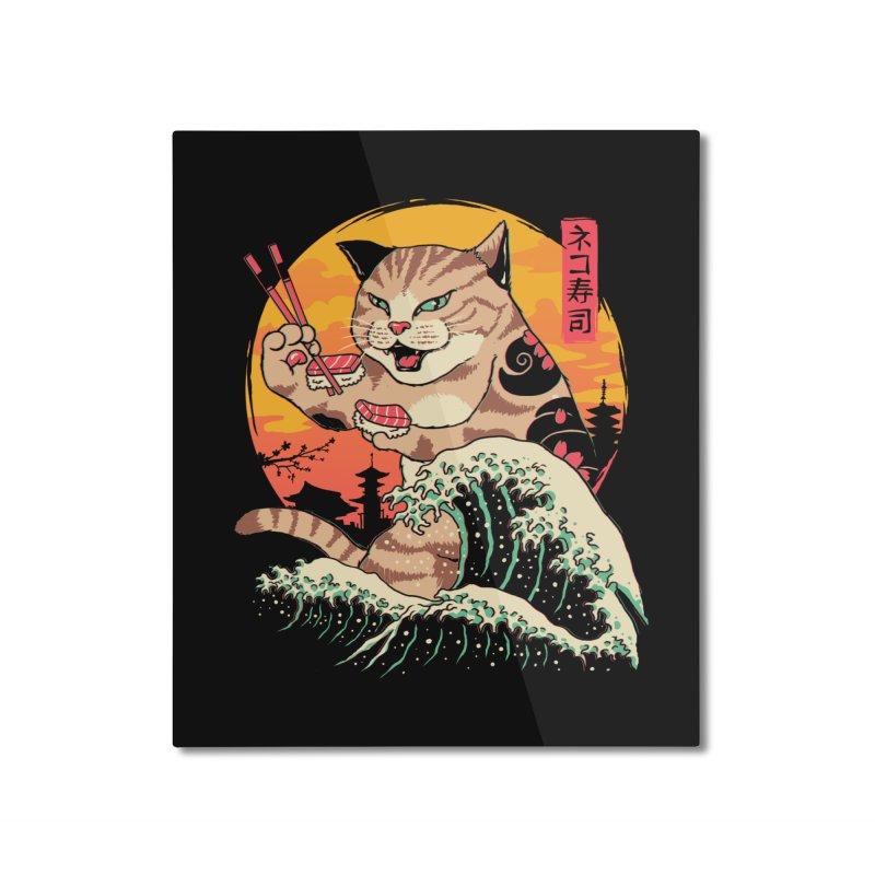 Neko Sushi Wave Home Mounted Aluminum Print by Vincent Trinidad Art