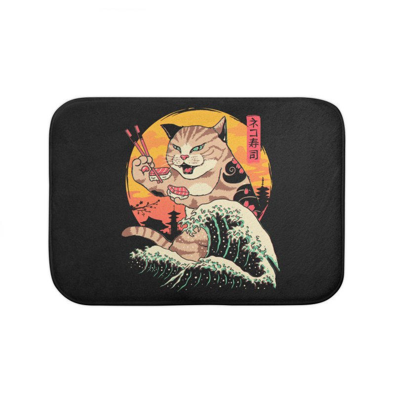Neko Sushi Wave Home Bath Mat by Vincent Trinidad Art