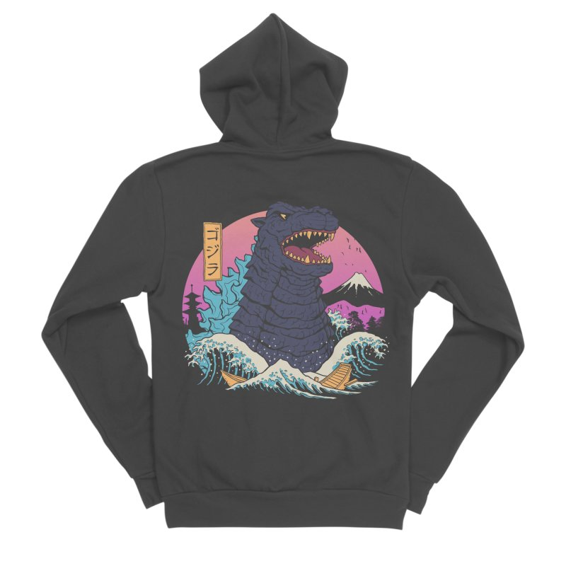 Rad Zilla Wave Women's Sponge Fleece Zip-Up Hoody by Vincent Trinidad Art