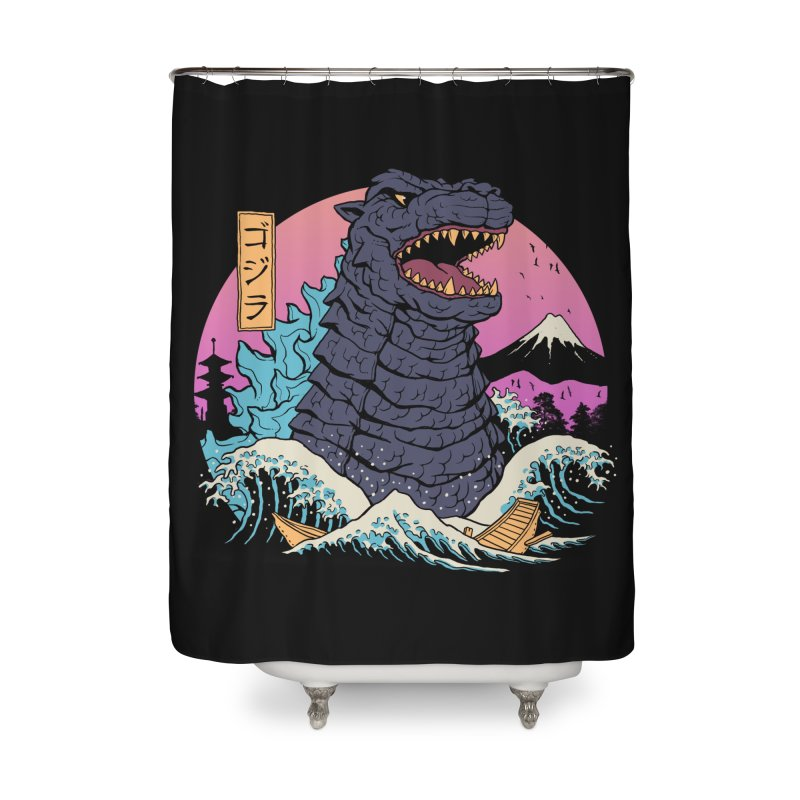 Rad Zilla Wave Home Shower Curtain by Vincent Trinidad Art