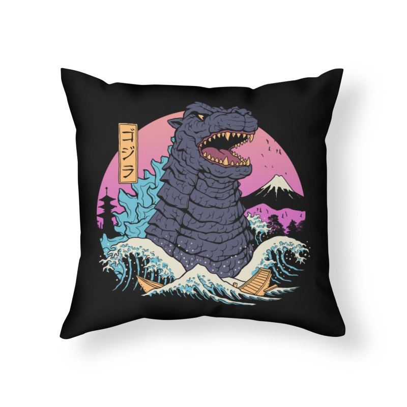 Rad Zilla Wave Home Throw Pillow by Vincent Trinidad Art