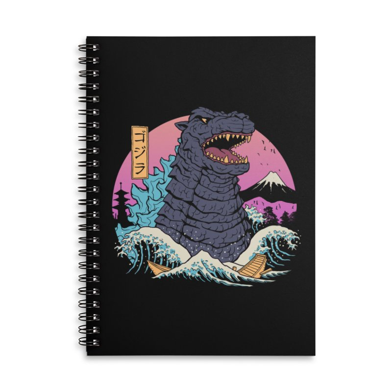 Rad Zilla Wave Accessories Lined Spiral Notebook by Vincent Trinidad Art