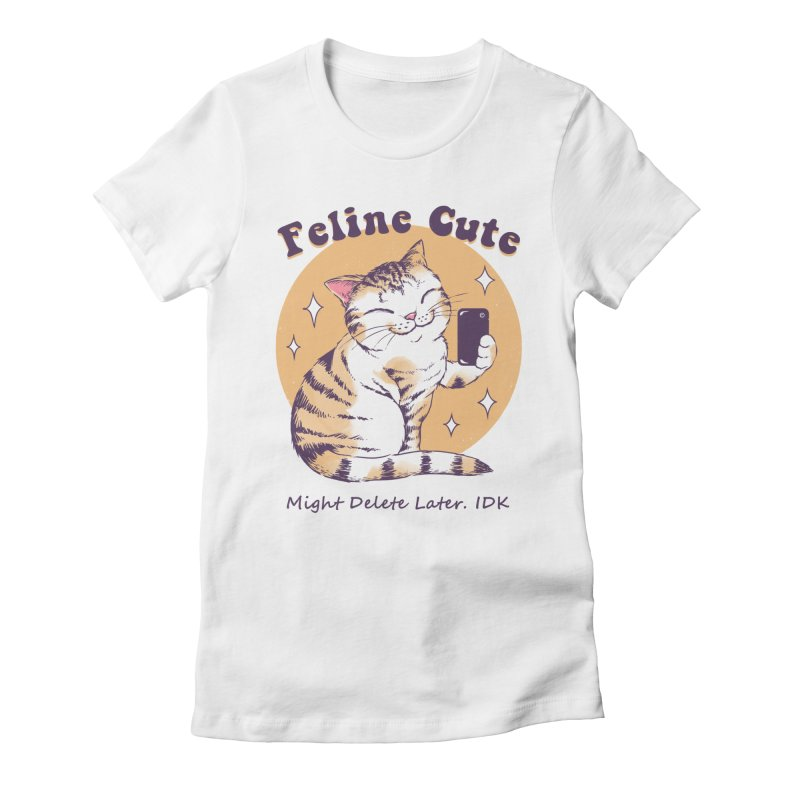 Feline Cute Challenge Women's Fitted T-Shirt by Vincent Trinidad Art