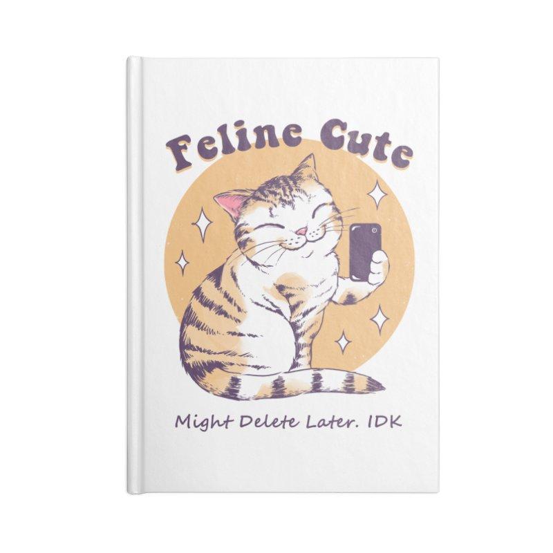 Feline Cute Challenge Accessories Blank Journal Notebook by Vincent Trinidad Art