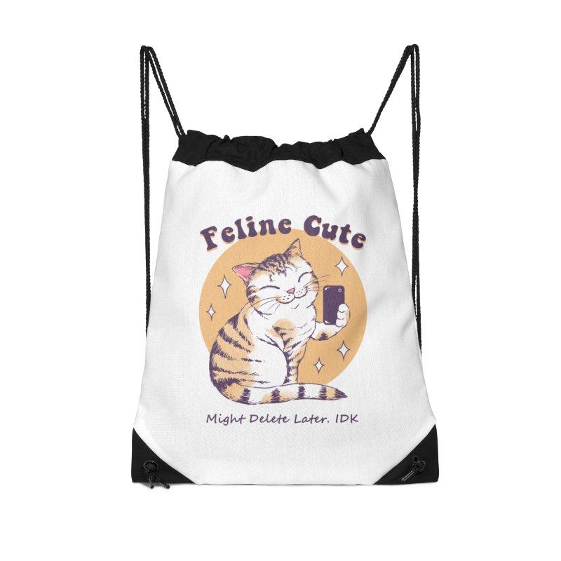 Feline Cute Challenge Accessories Drawstring Bag Bag by Vincent Trinidad Art