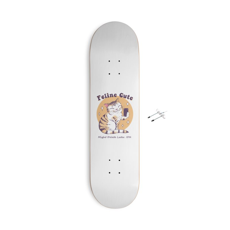 Feline Cute Challenge Accessories With Hanging Hardware Skateboard by Vincent Trinidad Art