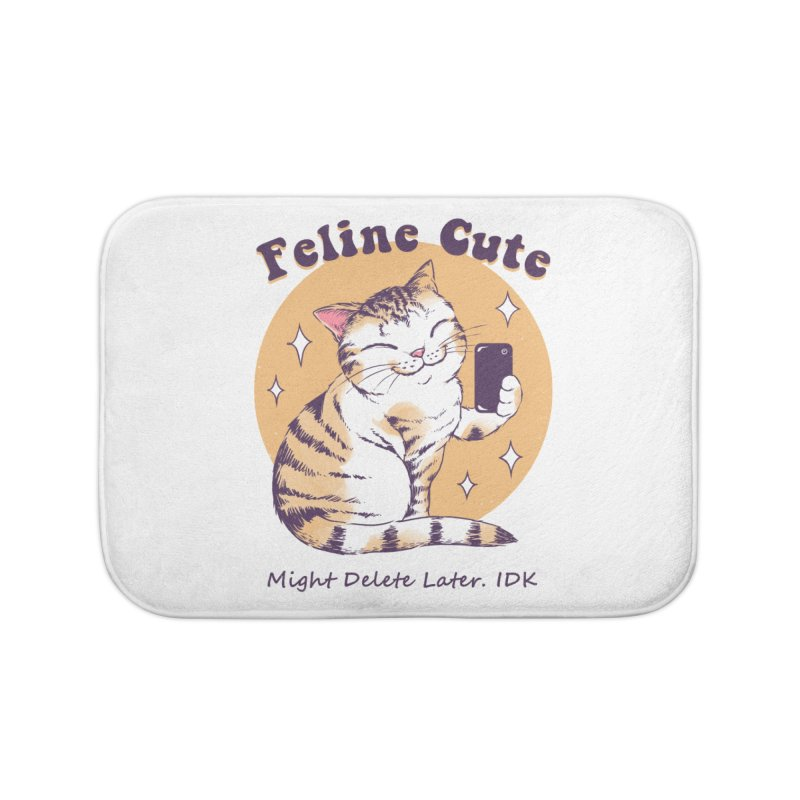 Feline Cute Challenge Home Bath Mat by Vincent Trinidad Art