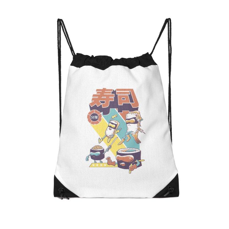 Sushi Sentai Accessories Drawstring Bag Bag by Vincent Trinidad Art