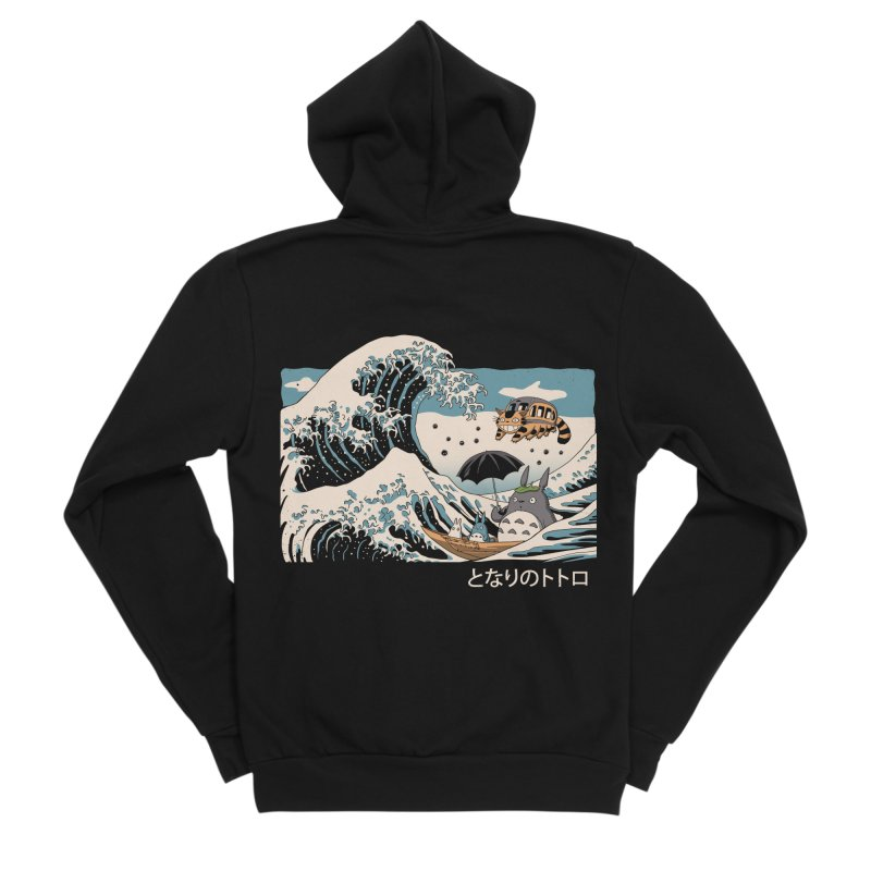 The Great Wave of Spirits Men's Sponge Fleece Zip-Up Hoody by Vincent Trinidad Art