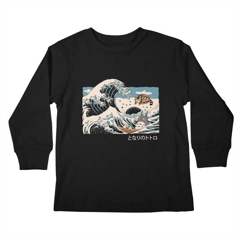 The Great Wave of Spirits Kids Longsleeve T-Shirt by Vincent Trinidad Art